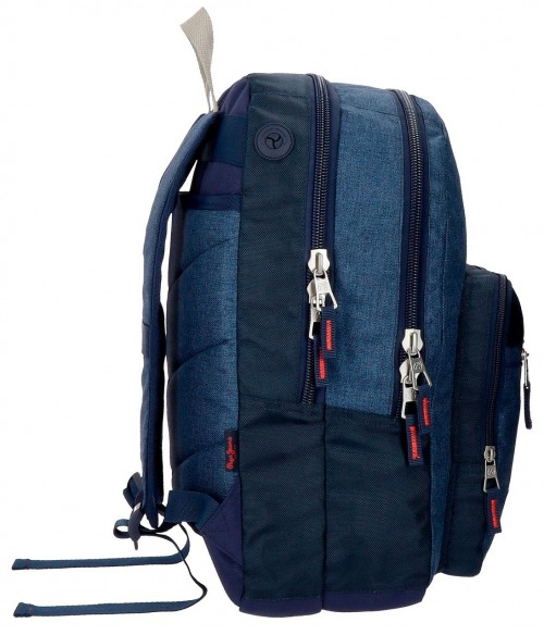 6322461 mochila 44 cm doble comp. pepe jeans paul  lateral