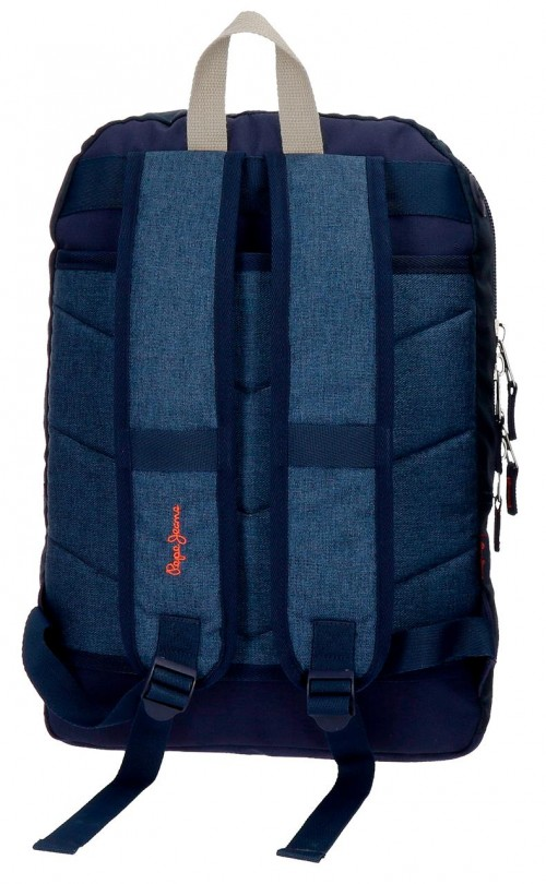 6322461 mochila 44 cm doble comp. pepe jeans paul  trasera - adaptable a carro