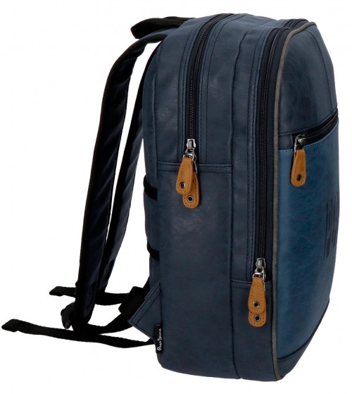6352262 mochila mediana 36 cm pepe jeans max azul lateral