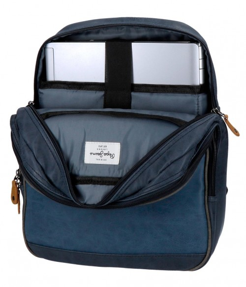 6352262 mochila mediana 36 cm pepe jeans max azul interior