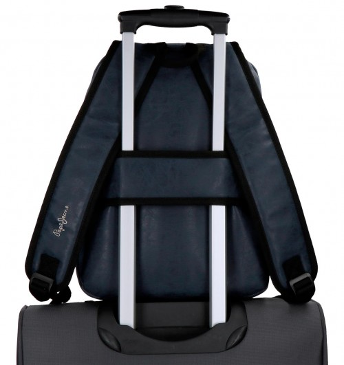 6352262 mochila mediana 36 cm pepe jeans max azul adaptable a trolley