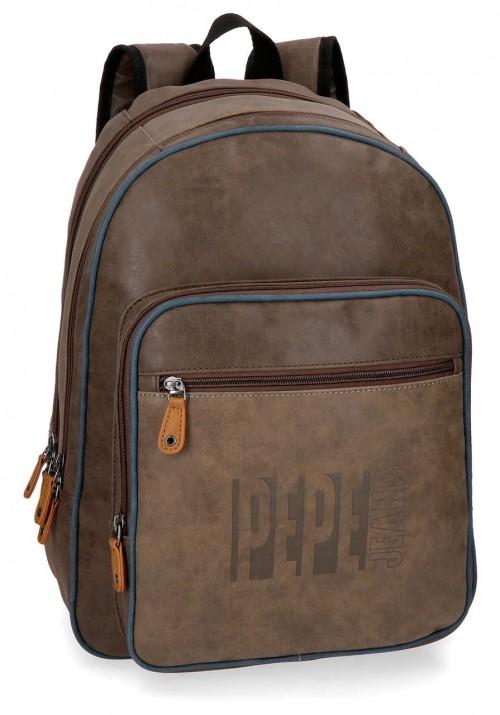 6352461 mochila portaordenador doble comp. pepe jeans max marrón