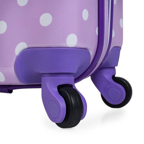 664504 maleta cabina skpa t topos malva detalle de las ruedas