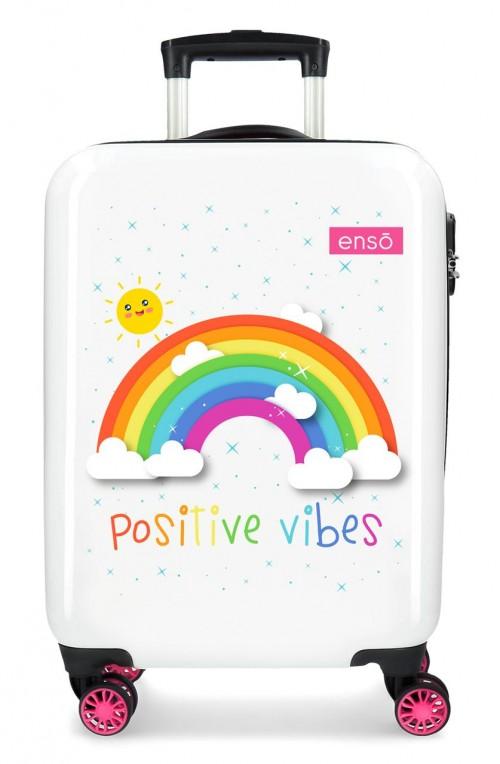 9221722 maleta cabina arcoiris enso positive vibes en color blanco