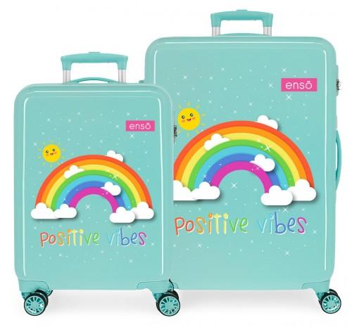 9221921 juego maletas cabina y mediana arcoiris enso positive vibes