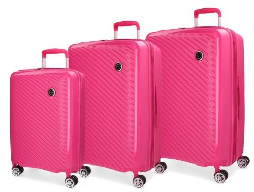 5879463 set maletas cabina + mediana + grande movom tokyo  fucsia