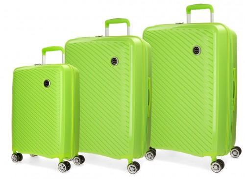 5879464 set maletas cabina + mediana + grande movom tokyo  pistacho