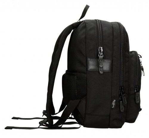 "7472261 mochila portaordenador 13.3""  pepe jeans all black lateral"