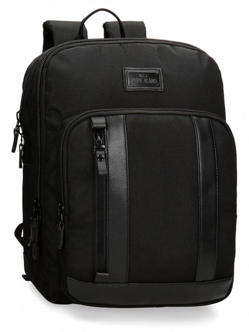 "7472261 mochila portaordenador 13.3"" de 36cm pepe jeans all black"