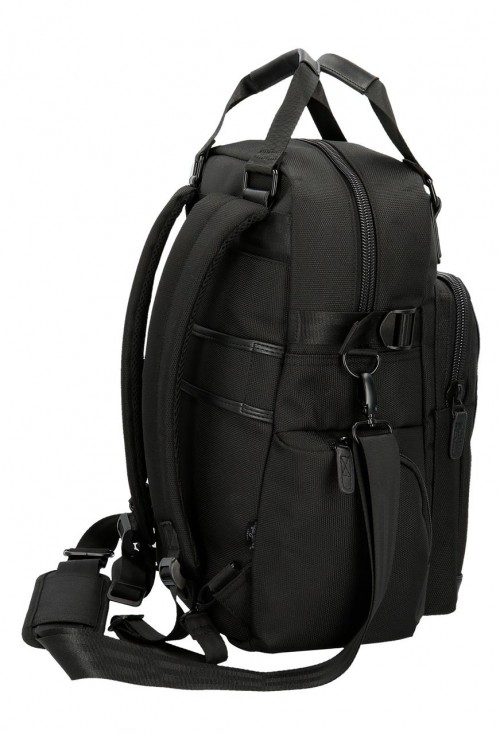"7472661 mochila portaordenador 13.3"" pepe jeans all black lateal"