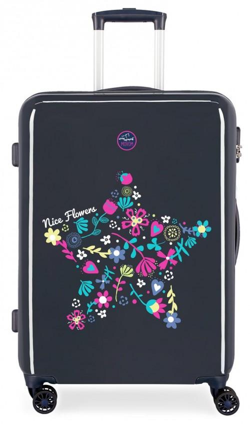 3441861 maleta mediana movom nice flowers 4 ruedas