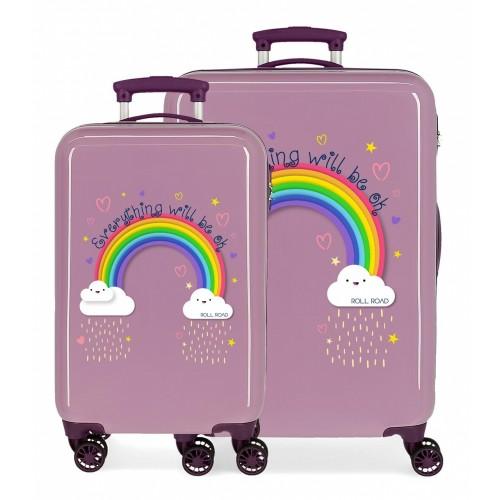 4291623 juego maletas cabina y mediana Roll Road Arcoiris Everything OK morado