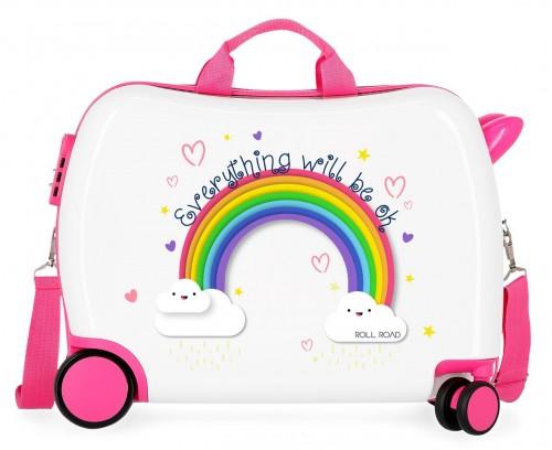 4299822 maleta infantil Roll Road Arcoiris Everything OK blanca
