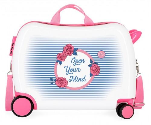 4489861 maleta infantil 4 ruedas roll road rose correpasillos ruedas delanteras multidireccionables