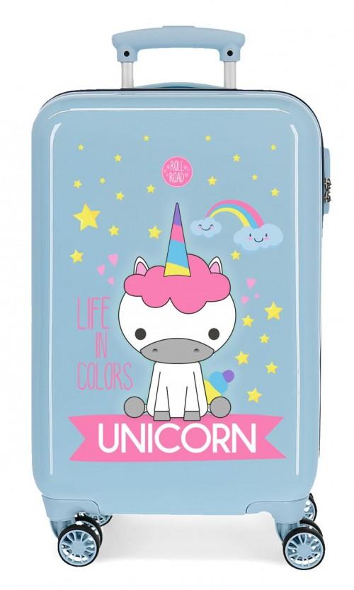 4741466 maleta cabina roll road little me unicorn azul claro