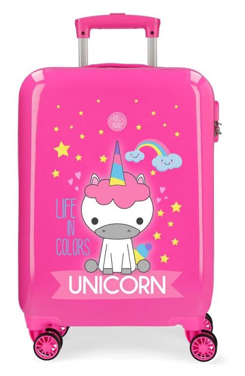 4741767 maleta cabina roll road little me unicorn fucsia