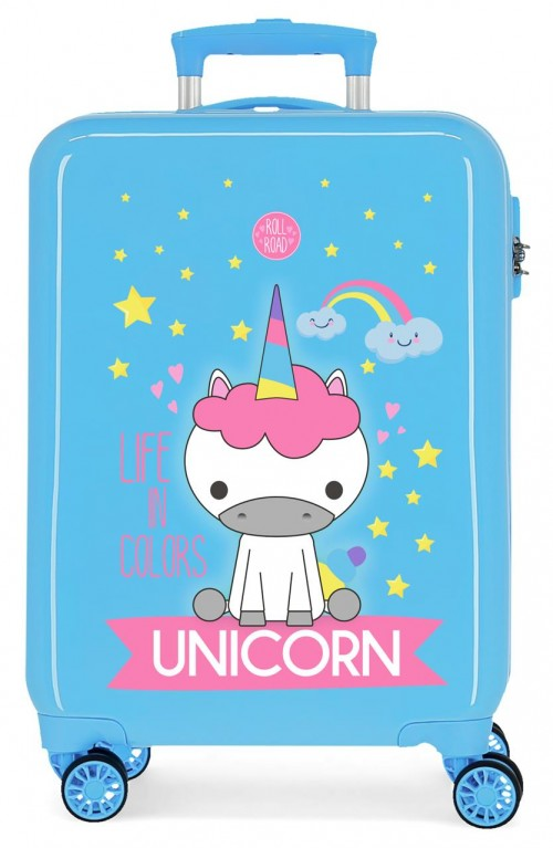 474176A maleta cabina roll road little me unicorn azul