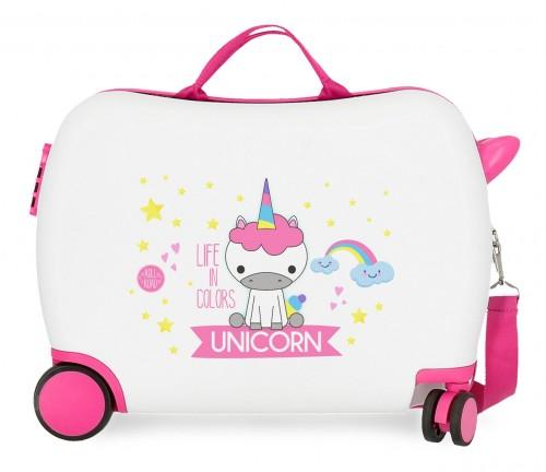 4749864 maleta infantil roll road little me unicorn blanco