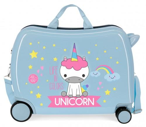 4749866 maleta infantil roll road little me unicorn azul claro