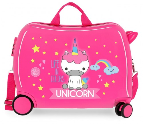 4749867 maleta infantil roll road little me unicorn fucsia