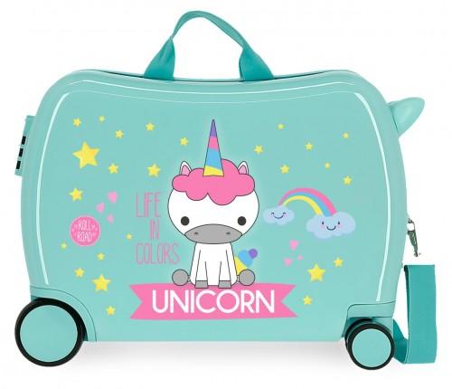 4749868 maleta infantil roll road little me unicorn turquesa