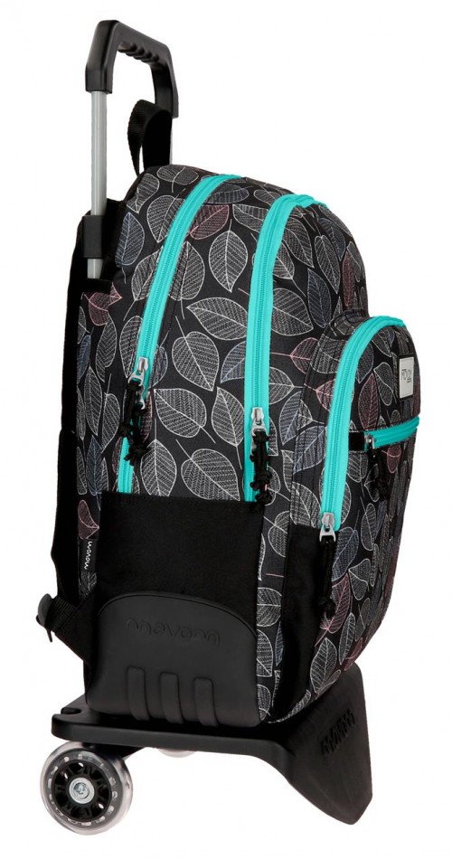 36426N2  mochila 44 cm . con carro movom leaves verde lateral