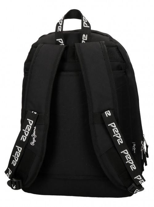 6392461 mochila 44 cm doble c. pepe jeans uma negro adaptable a carro