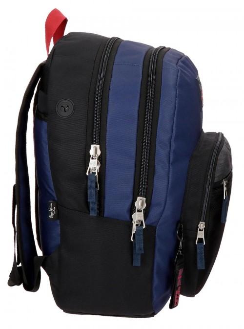 6442461 mochila 46 cm doble c. pepe jeans hammer lateral
