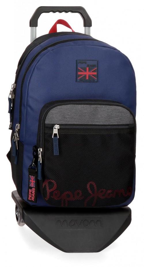 64424N1  mochila 46 cm doble c. con carro pepe jeans hammer