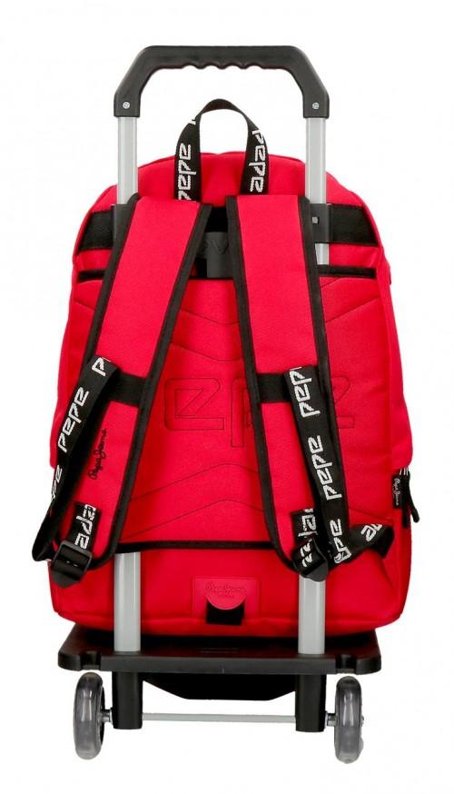 64523N3  mochila 42 cm  con carro pepe jeans osset  rojo  trasera
