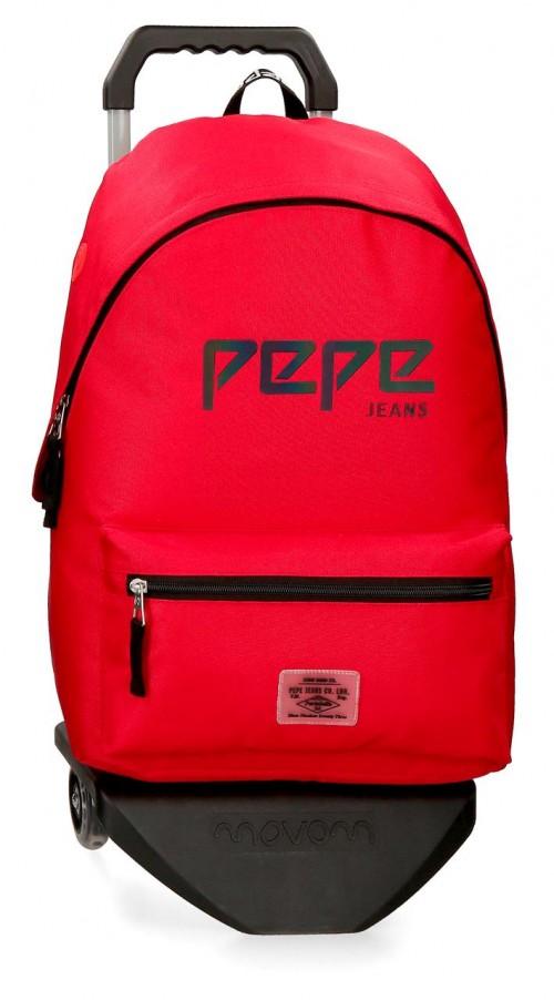 64523N3  mochila 42 cm  con carro pepe jeans osset  rojo