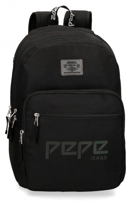 6452461 mochila 46 cm doble c. pepe jeans osset negro