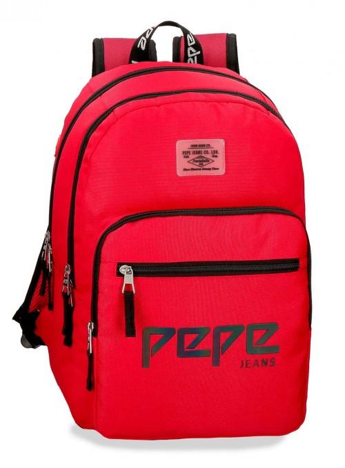 6452463 mochila 46 cm doble c. pepe jeans osset rojo