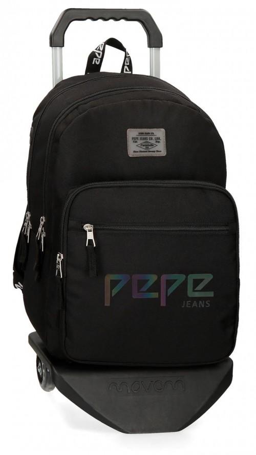 64524N1  mochila 46 cm doble c. con carro pepe jeans osset negro