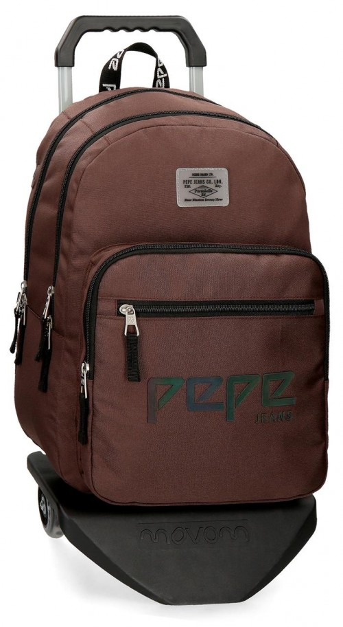 64524N4 mochila 46 cm doble c. con carro pepe jeans osset  marrón