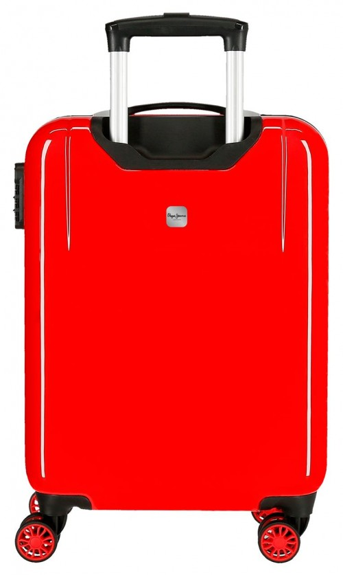 6522161 maleta cabina 4 ruedas pepe jeans world rojo   trasera