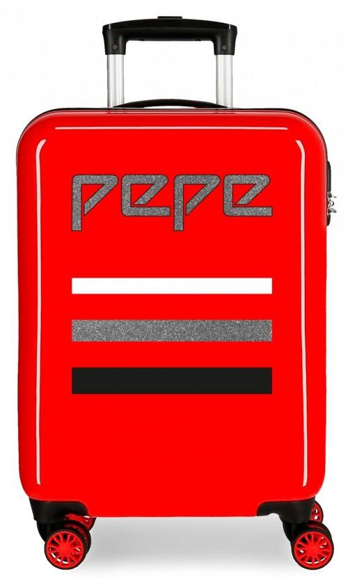 6522161 maleta cabina 4 ruedas pepe jeans world rojo
