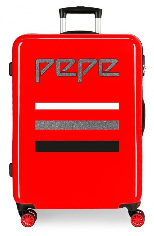 6522261 maleta mediana 4 ruedas pepe jeans world rojo