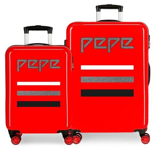 6522361 juego maletas cabina y mediana pepe jeans world rojo