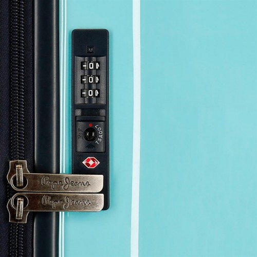6535161 maleta de cabina pepe jeans taking off turquesa cerradura tsa