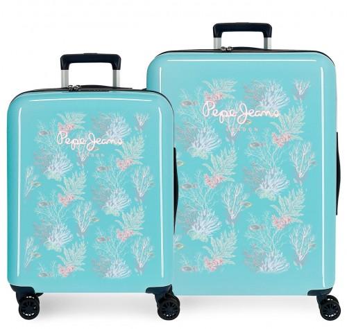 6535361 juego maletas cabina y mediana pepe jeans taking off turquesa