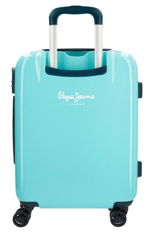 6557161 maleta de cabina pepe jeans emory turquesa trasera