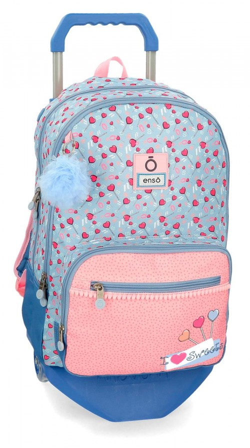 mochila 46 cm con carro doble c. enso i love sweets