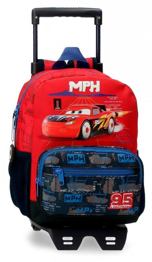 20821T1 mochila pequeña 28cm con carro cars roquet racing