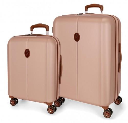 5128923 juego de maleta cabina y mediana abs el potro new ocuri  rosa