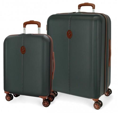 5128925  juego de maleta cabina y mediana abs  el potro new ocuri verde oscuro