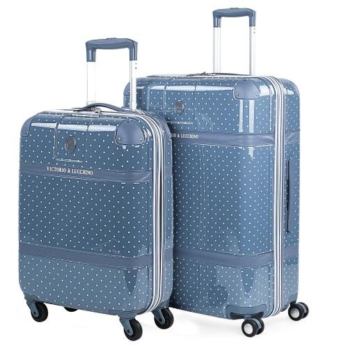 8010007 juego maletas cabina + mediana  victorio & lucchino lunares azul 4 ruedas policarbonato vista general