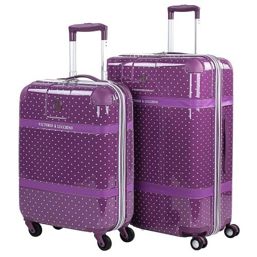 8010008 juego maletas cabina + mediana   victorio & lucchino lunares malva vista general