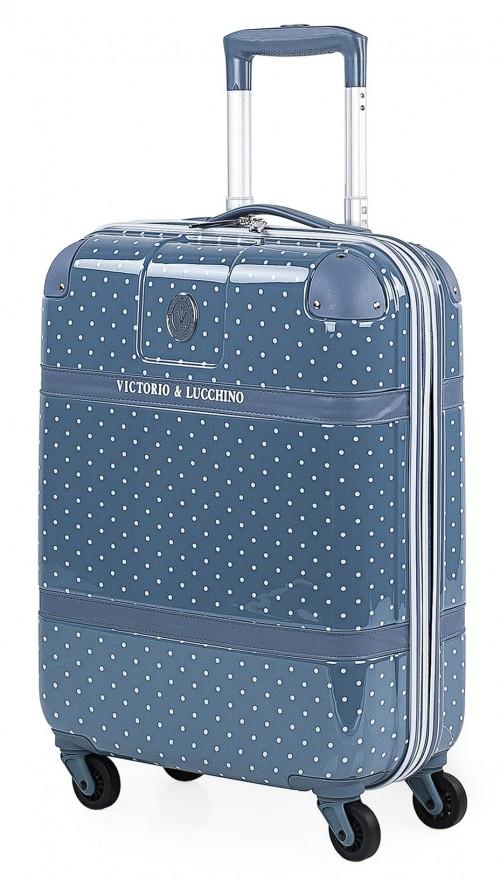 8015007 maleta cabina victorio & lucchino lunares azul 4 ruedas dobles policarbonato vista general