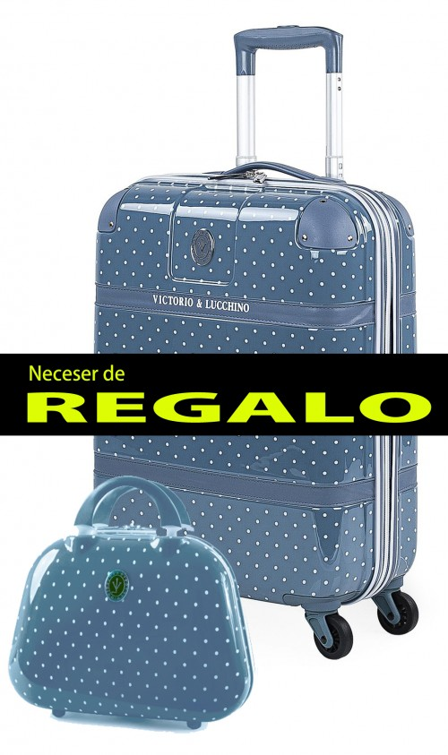 8015007 maleta cabina victorio & lucchino lunares azul 4 ruedas dobles policarbonato
